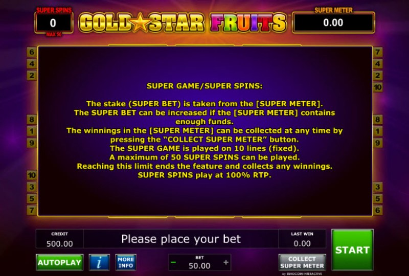 Gold Star Fruits :: Super Games - Super Spins