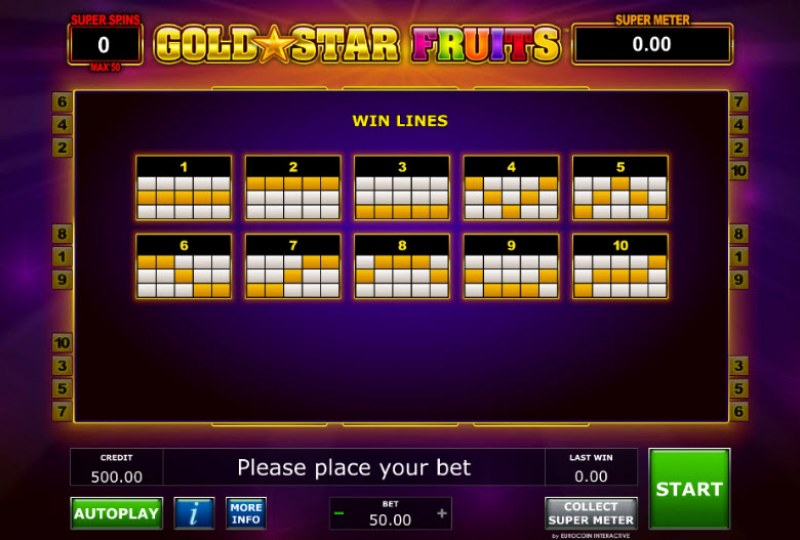 Gold Star Fruits :: Paylines 1-10