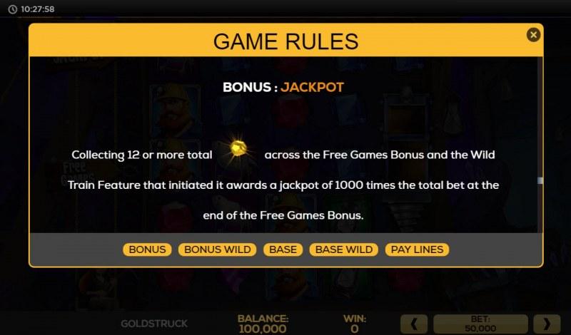 Gold Struck :: Jackpot Rules