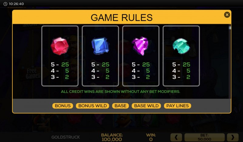 Gold Struck :: Paytable - Low Value Symbols