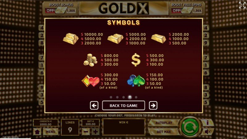 Gold X :: Paytable