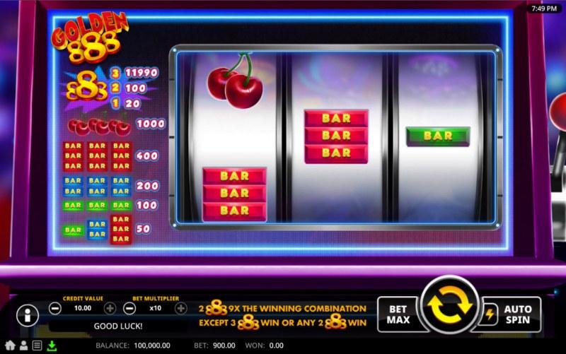 Golden 888 :: Base Game Screen