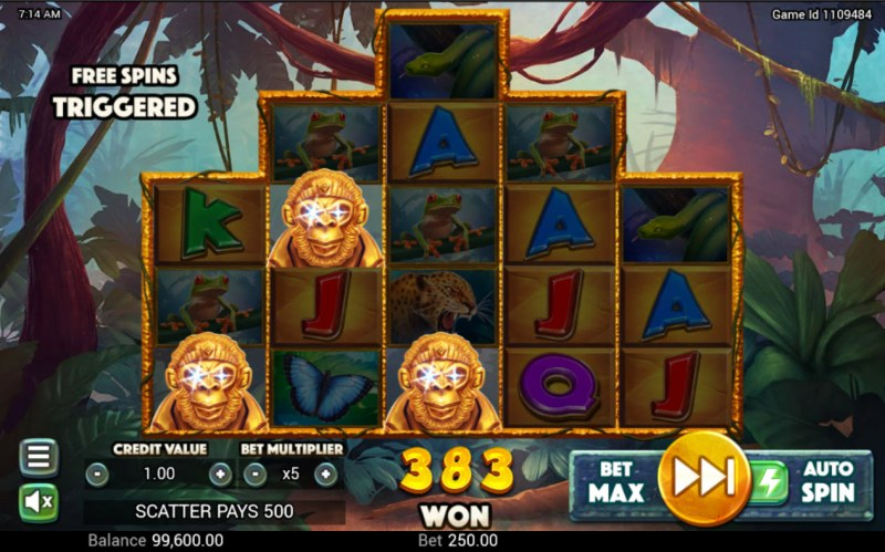 Golden Amazon :: Scatter symbols triggers the free spins bonus feature