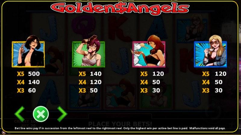 Golden Angels :: Paytable - High Value Symbols