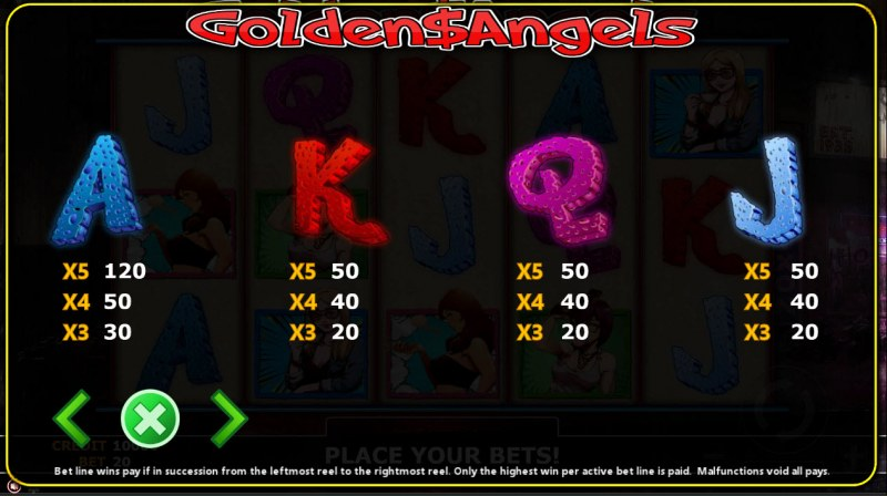 Golden Angels :: Paytable - Low Value Symbols