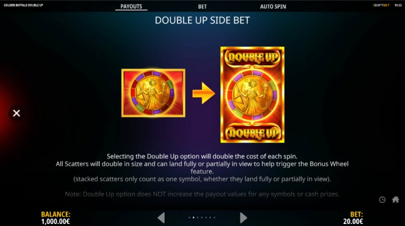 Golden Buffalo Double Up :: Double Up Side Bet