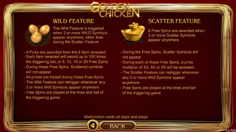 Golden Chicken :: Wild and Scatter Rules
