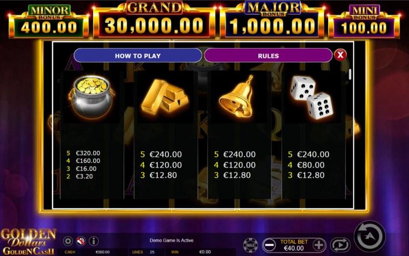 Golden Dollars Golden Cash :: Paytable - High Value Symbols