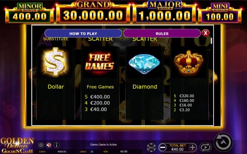Golden Dollars Golden Cash :: Wild and Scatter Rules