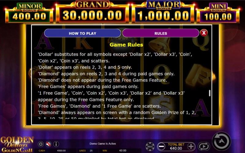 Golden Dollars Golden Cash :: General Game Rules