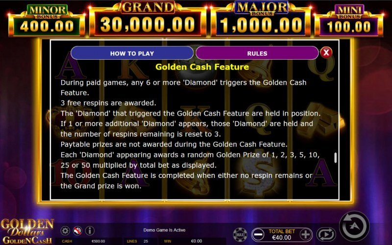 Golden Dollars Golden Cash :: Golden Cash Feature