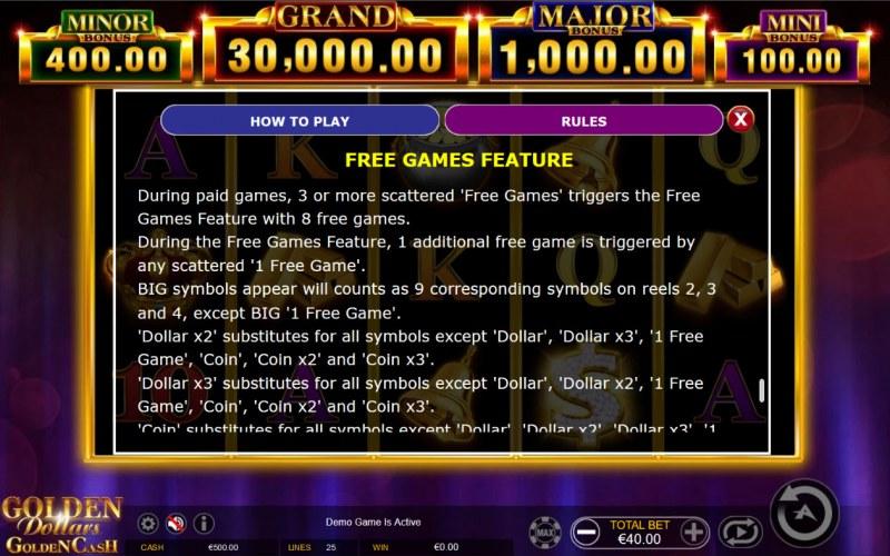 Golden Dollars Golden Cash :: Free Game Rules