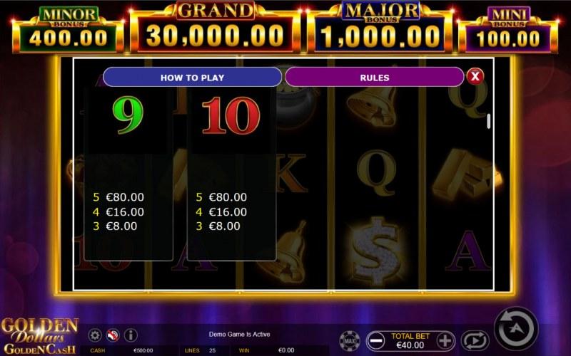 Golden Dollars Golden Cash :: Paytable - Low Value Symbols