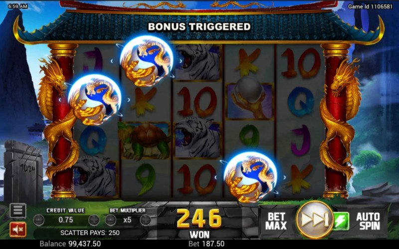 Golden Dragon :: Scatter symbols triggers the free spins bonus feature