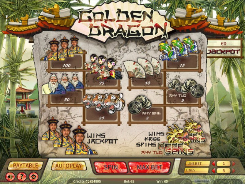 Golden Dragon :: Paytable