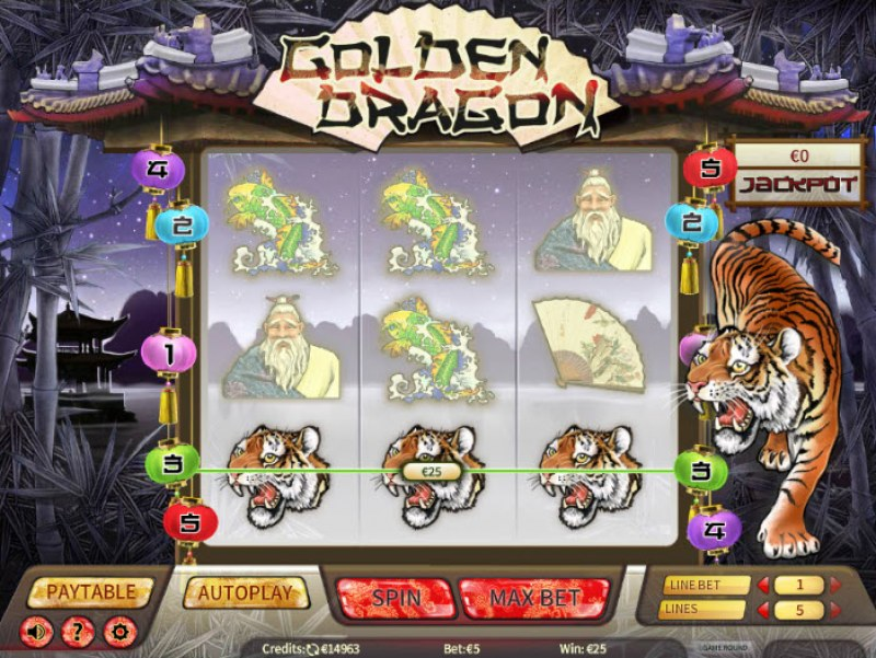 Golden Dragon :: A three of a kind win