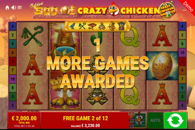 Golden Egg of Crazy Chicken Crazy Chicken Shooter :: 1 more free game awarded for every stacked wild landing on the reels