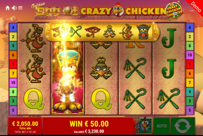 Golden Egg of Crazy Chicken Crazy Chicken Shooter :: Symbols are upgraded when wild symbol appears on the reels