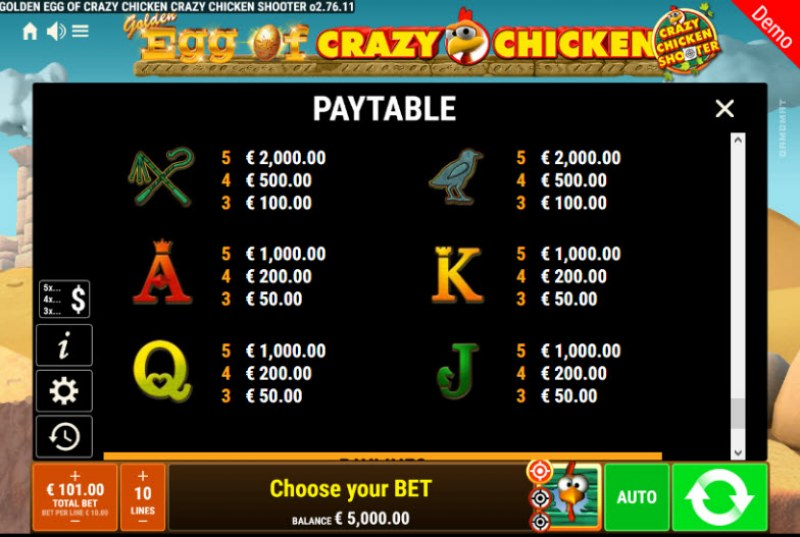 Golden Egg of Crazy Chicken Crazy Chicken Shooter :: Paytable - Low Value Symbols