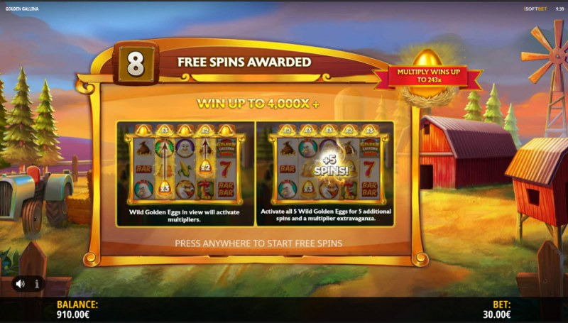 Golden Gallina :: 8 free spins awarded