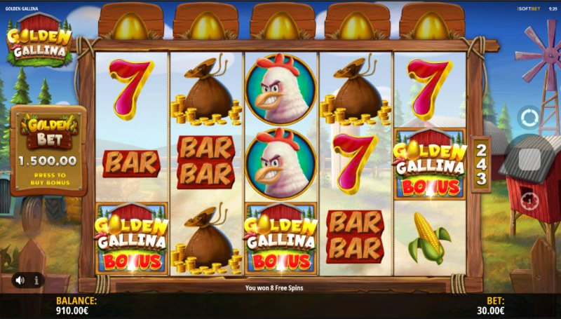 Golden Gallina :: Scatter symbols triggers the free spins bonus feature