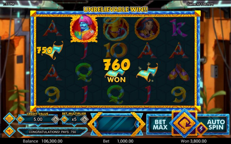 Golden Genie :: A four of a kind win