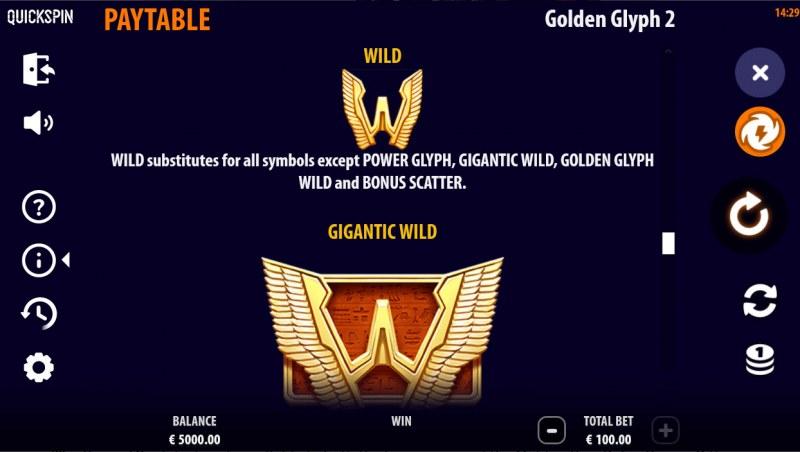 Golden Glyph 2 :: Wild Symbol Rules