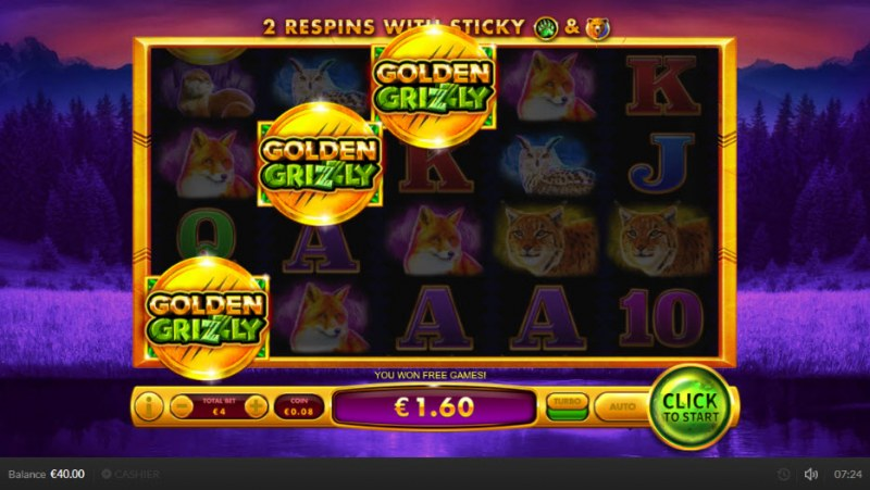 Golden Grizzly :: Scatter symbols triggers the free spins feature