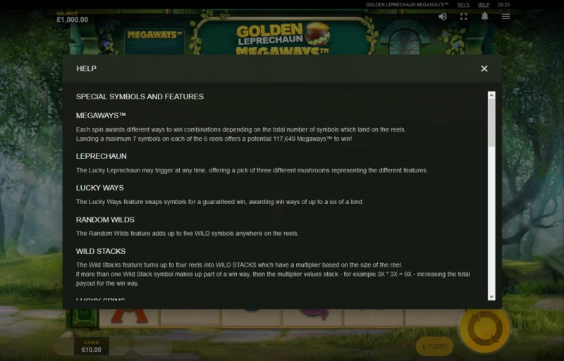 Golden Leprechaun Megaways :: General Game Rules