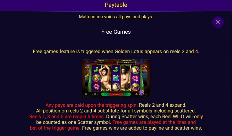 Golden Lotus Special Edition :: Free Spins Rules