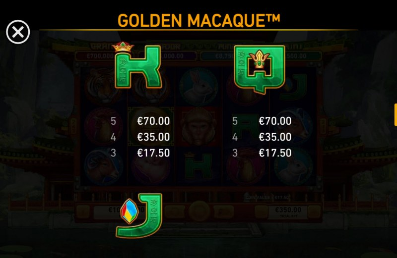 Golden Macaque :: Paytable - Low Value Symbols