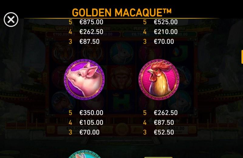 Golden Macaque :: Paytable - Medium Value Symbols