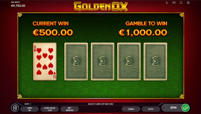 Golden Ox :: Red or Black Gamble Feature