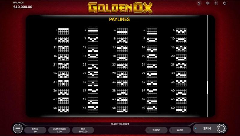 Golden Ox :: Paylines 1-50