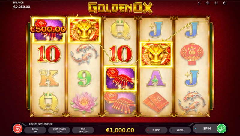 Golden Ox :: A four of a kind win