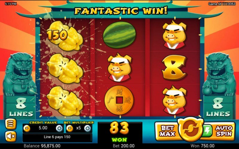 Golden Pig :: A three of a kind win