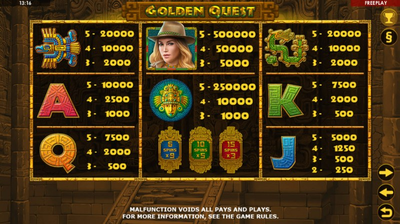 Golden Quest :: Paytable