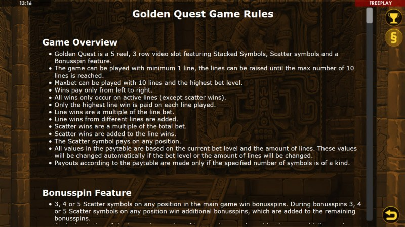 Golden Quest :: General Game Rules