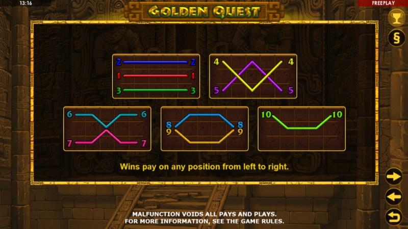Golden Quest :: Paylines 1-10