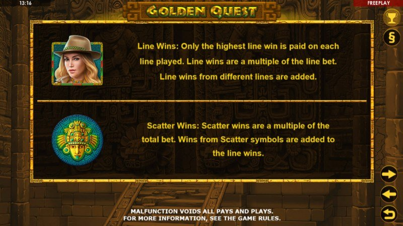 Golden Quest :: Wild and Scatter Rules