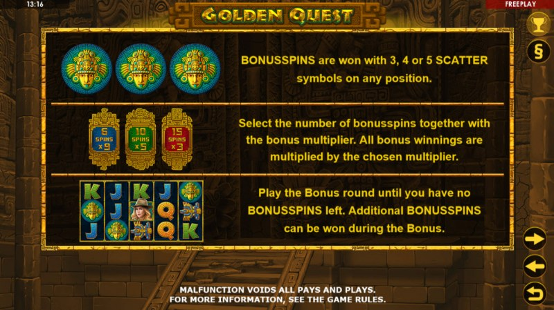 Golden Quest :: Free Spins Rules