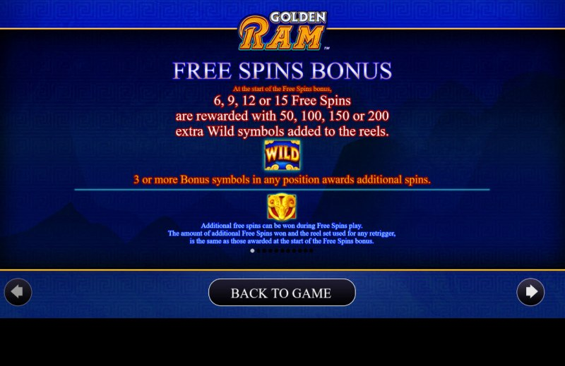 Golden Ram :: Free Spin Feature Rules