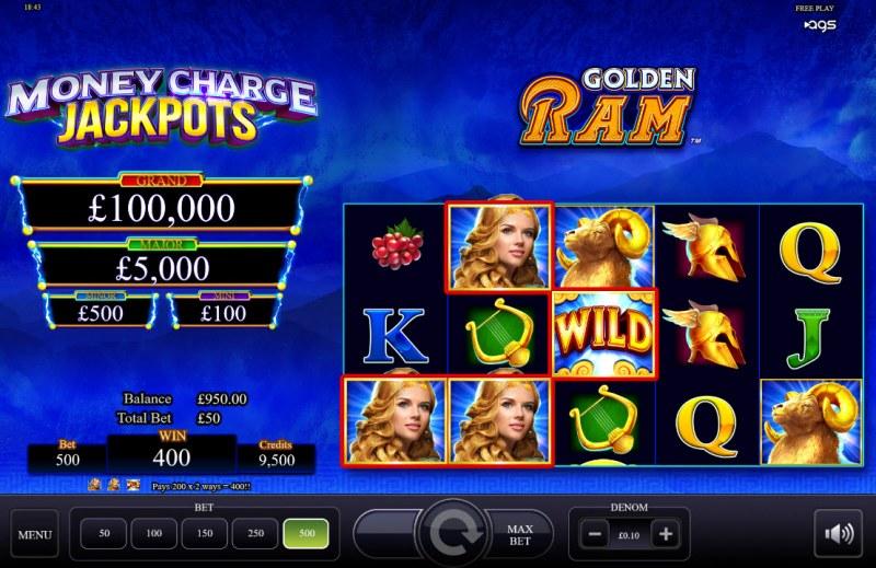 Golden Ram :: A three of a kind win