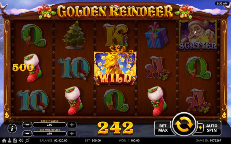 Golden Reindeer :: A four of a kind win