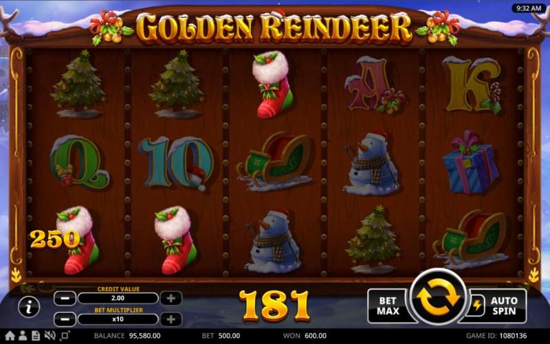 Golden Reindeer :: A three of a kind win
