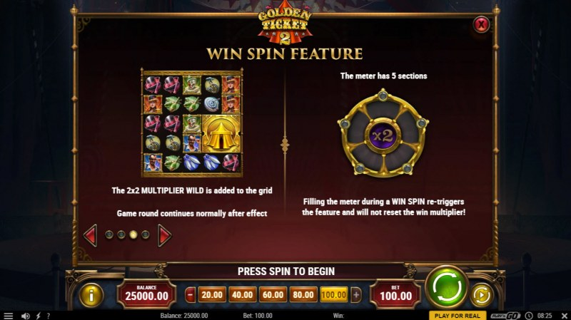 Golden Ticket 2 :: Win Spin Feature