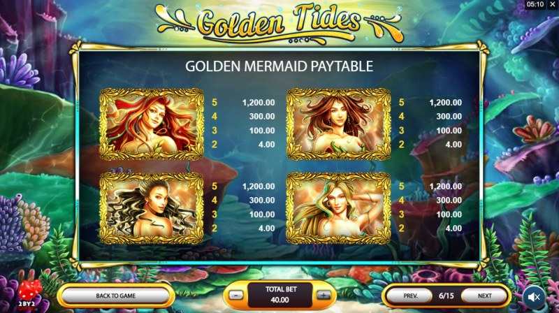 Golden Tides :: Golden Mermaids Paytable