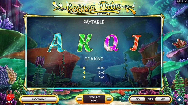 Golden Tides :: Paytable - Low Value Symbols