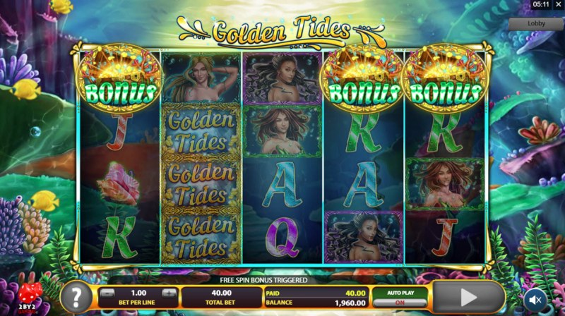 Golden Tides :: Scatter symbols triggers the free spins feature