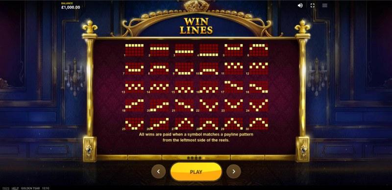 Golden Tsar :: Paylines 1-30